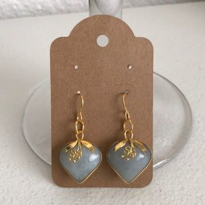 5 Natural jade stone earring set gold tone just in